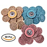 CBTONE 2 inch Roloc Quick-Change Surface Conditioning Disc, Fine Medium Coarse Grit, 30 PCS Roll Lock Sanding Discs for surface prep, paint & rust stripping, grinding, polishing & finishing