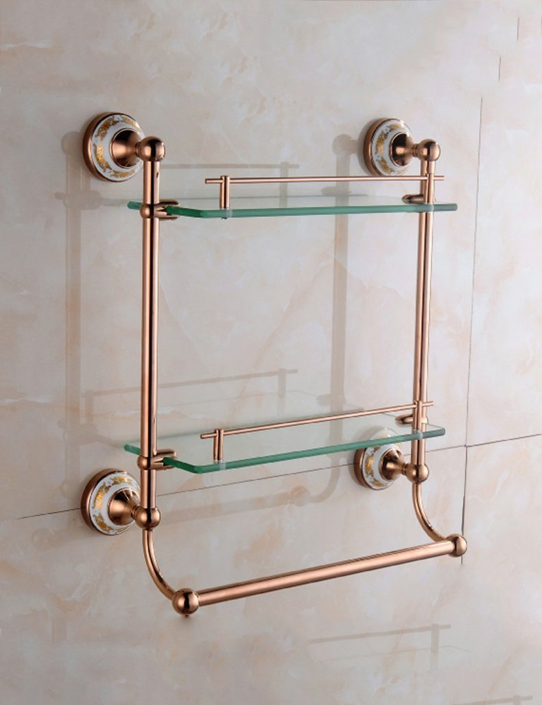 DIDIDD Shelf-Extremely Firm Shower Shelf Bathroom Copper Plated Rose Gold Single Layer Double Layer Glass Makeup Stand Bathroom Towel Rack Pendant Ensuring Quality,4