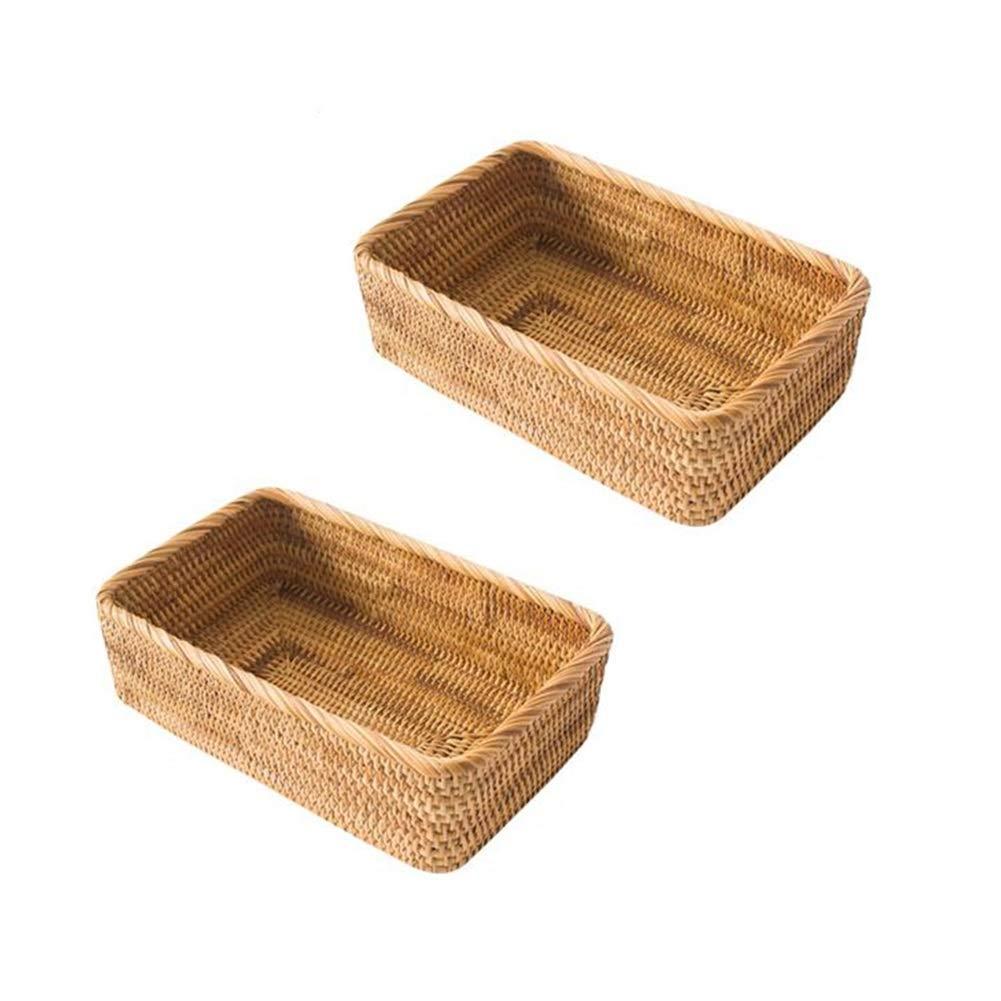 T2 MUMA Storage Baskets No Cover Rectangle Handwoven Rattan Home Organizer Bins(2 Packs) (Size   T1)