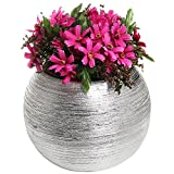 6.75 Inch Modern Round Metallic Silver Tone Ridged Ceramic Plant Pot, Decorative Bowl Shaped Flower Vase