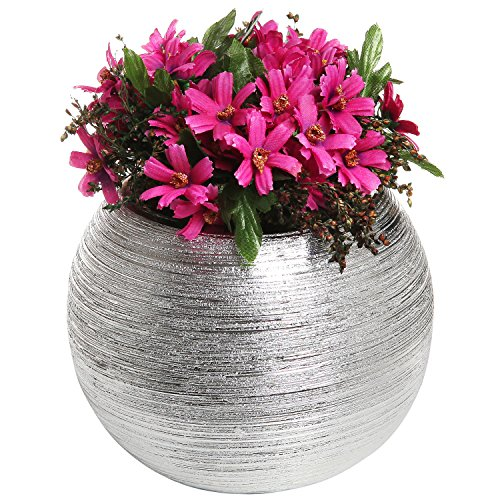 6.75 Inch Modern Round Metallic Silver Tone Ridged Ceramic Plant Pot, Decorative Bowl Shaped Flower Vase