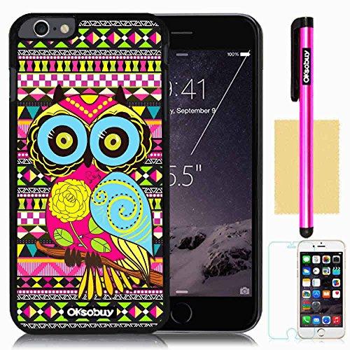OkSoBuy Apple iPhone 6 Plus (5.5 Inch) Case Retro trend pretty Cute wise OWL Background Pattern Impact Case for Apple Iphone 6 Plus (5.5 Inch) (Black with Colorful and Wisdom OWL)