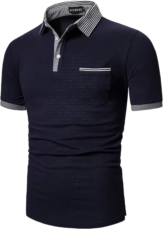 YCUEUST Polo para Hombre Manga Corta Camisas Cuello a Rayas ...
