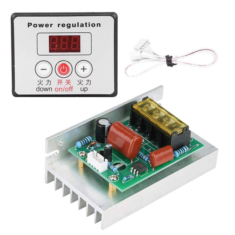 AC 220V 6000W Adjustable SCR Digital Voltage Regulator Electric Motor Speed Control Dimming Dimmer Thermostat Module by Wal front (Image #2)