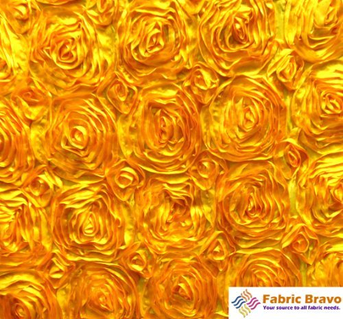 Satin Ribbon Rosette - Rosette Ribbon Satin Fabric By the Yard, 54-Inch Wide, Gold.