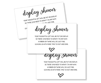 50 Display Shower Insert Cards Display Shower Card Display Shower Tags Display Shower Invitation Bridal Shower Insert Baby Shower Display Cards