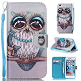 """StarOwl Case for iPhone 6S Synthetic Leather Wallet Case [Card Slots] [Kickstand] Shock Resistance Magnetic Closure Strap Case for iPhone 6/6S 4.7"""" - Gray Owl"""