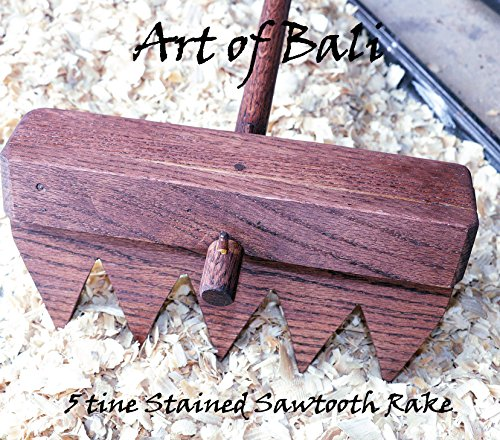 "Art of Bali 48"" 6 Tine Stained Saw Tooth Zen Garden Rake – Art of Bali Original by Art of Bali"