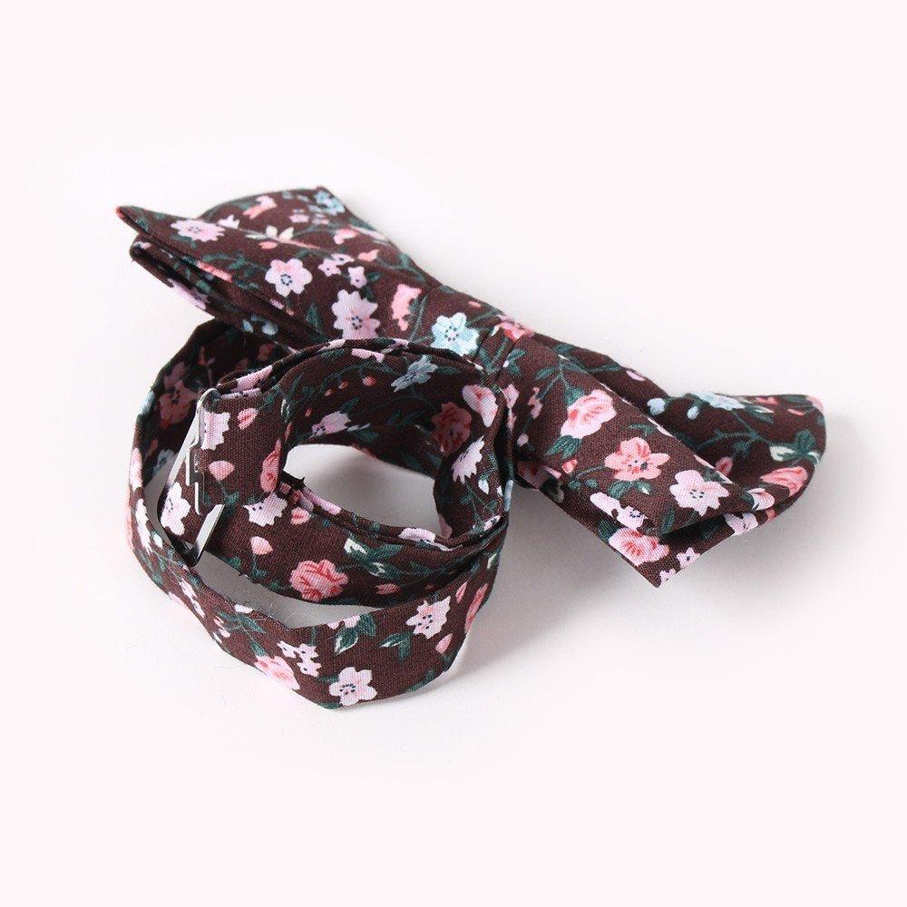 Browti Mens Floral Printed Cotton Bowtie Skinny Bow Tie Neck Tie