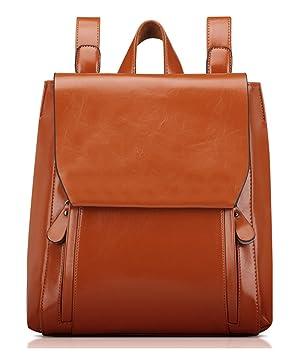 TIBES Mochila Casual para Mujer Moda Mochila de cuero Bolsa para la escuela marrón: Amazon.es: Equipaje