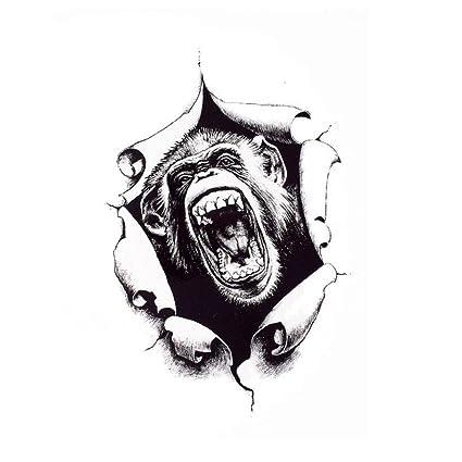 Justfox - Tatuaje temporal, diseño de mono: Amazon.es: Belleza