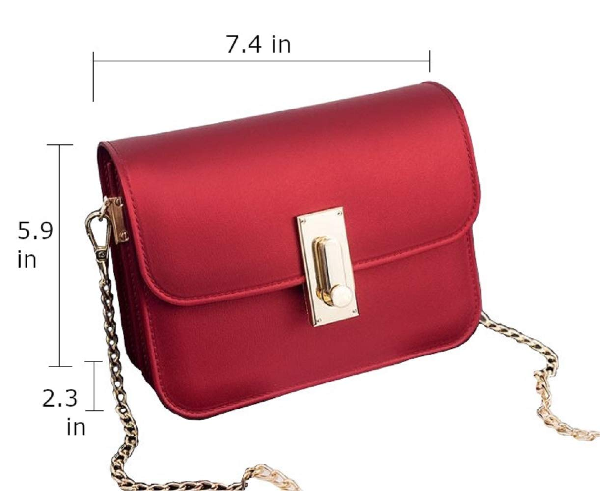 LF-JP PVC Evening bags for women [ Designer Clutch with Chain ] Shoulder Bag Cross body Purse (Red) by LF-JP (Image #3)