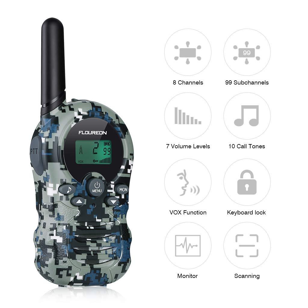 FLOUREON Walkie Talkies de Gemelos con Radio bidireccional PMR446MHZ de 8 Canales para ni/ños de hasta 3300 Metros interfono port/átil sin Licencia Verde