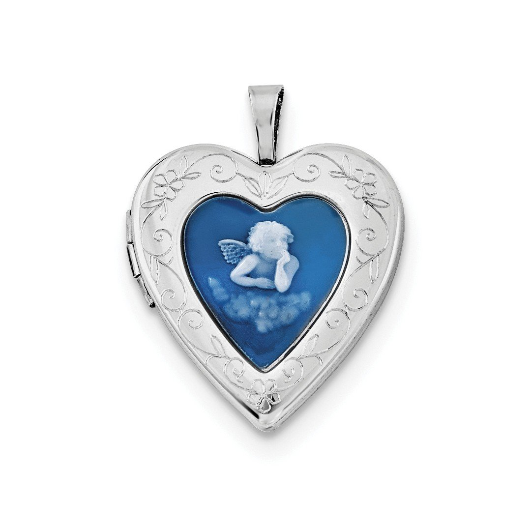 ICE CARATS 925 Sterling Silver 20mm Blue Agate Angel Cameo Photo Pendant Charm Locket Chain Necklace That Holds Pictures Fine Jewelry Ideal Gifts For Women Gift Set From Heart