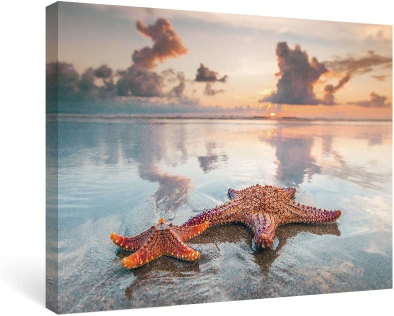 SUMGAR Seascape Canvas Wall Art Bedroom Starfish on Beach Framed Paintings Summer Photography Decor for Home, 16x12 inch