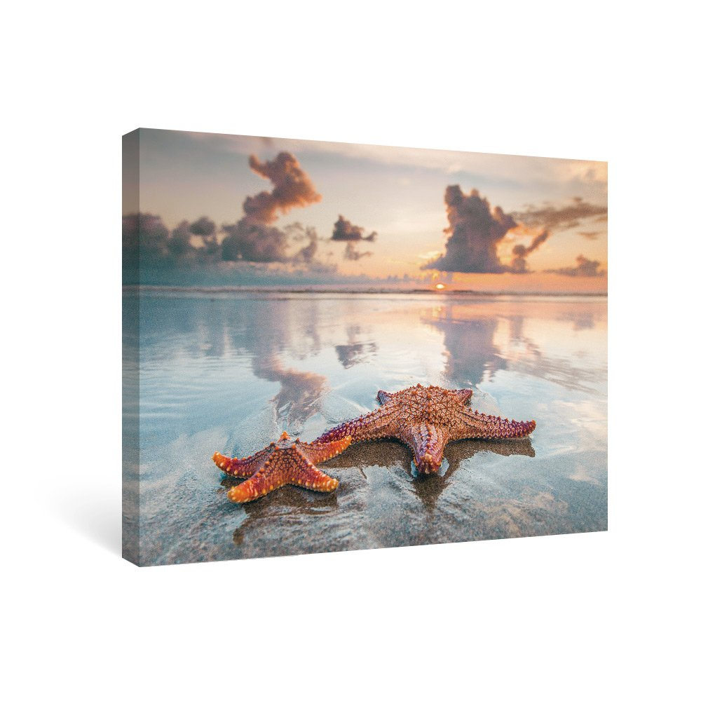 SUMGAR Beach Canvas Wall Art Bathroom Bedroom Starfish Picture Sunset Photography Framed Paintings Summer Holiday Modern Canvas Prints Artwork for Coastal Home Decor, 16x12 inch