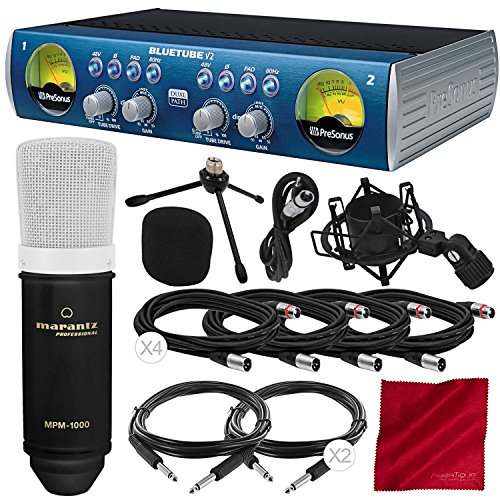 Channel Strip Mic Preamp - PreSonus BlueTube DP V2 2-channel Mic/Instrument Tube Preamp with Condenser Microphone and Deluxe Bundle