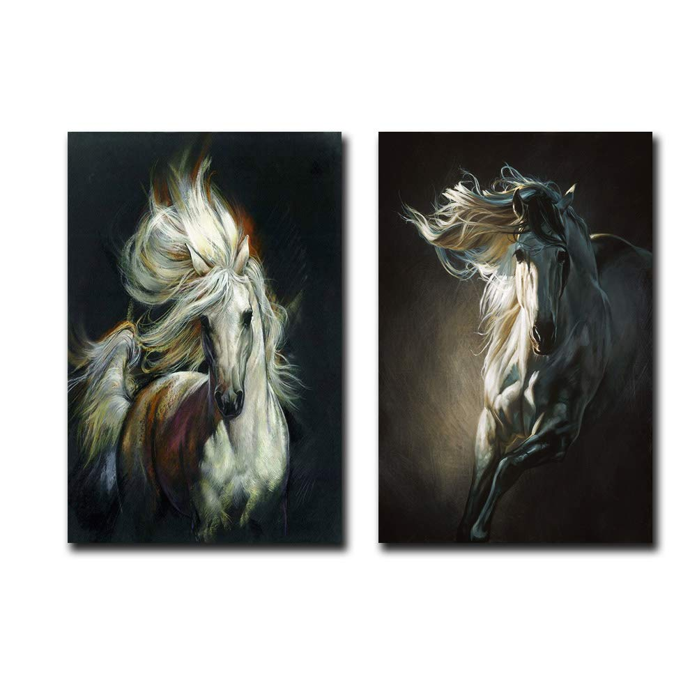 MM Art Modernism Abstract Art Canvas Prints Galloping Horse Mane Horsehair Fluttering Painting on Canvas Wall Art Poster Pictures for Living Room Kitchen Office Decorations 16x24inch 2Pcs