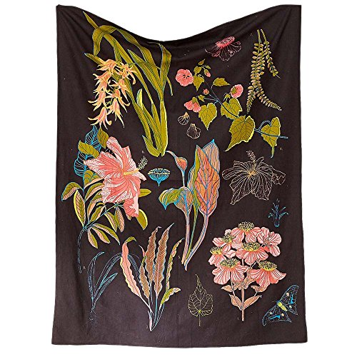 Used, PYHQ Flowers Black Tapestry Wall Hanging Urban Hippie for sale  Delivered anywhere in USA