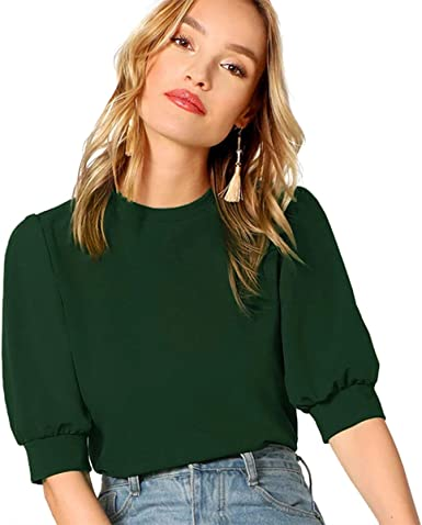 Amazon Com Shein Blusa De Mujer Con Mangas De Puff Casual Solid Top Pullover Keyhole Back Clothing
