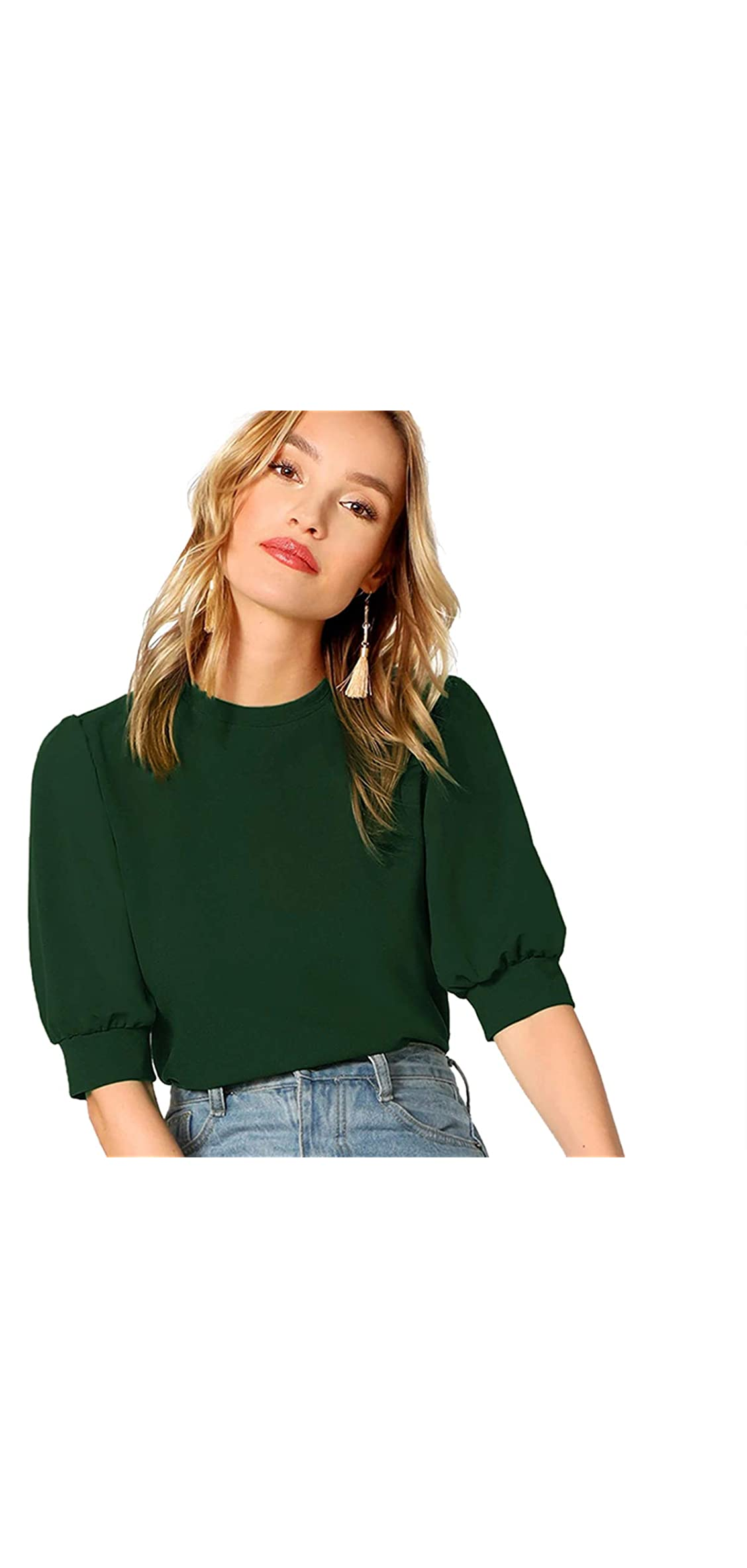 Women's Puff Sleeve Casual Solid Top Pullover Keyhole Back
