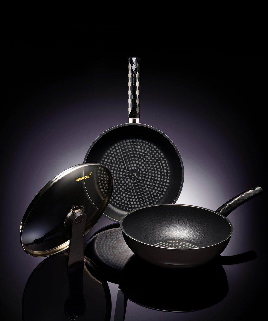Happycall 5 Layer Diamond Nonstick Pan and Wok 3-piece Set, 12inch, PFOA-Free, Cookware Set, Dark Brown