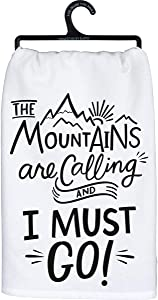 Primitives by Kathy LOL Made You Smile Dish Towel, 28 x 28, The Mountains are Calling