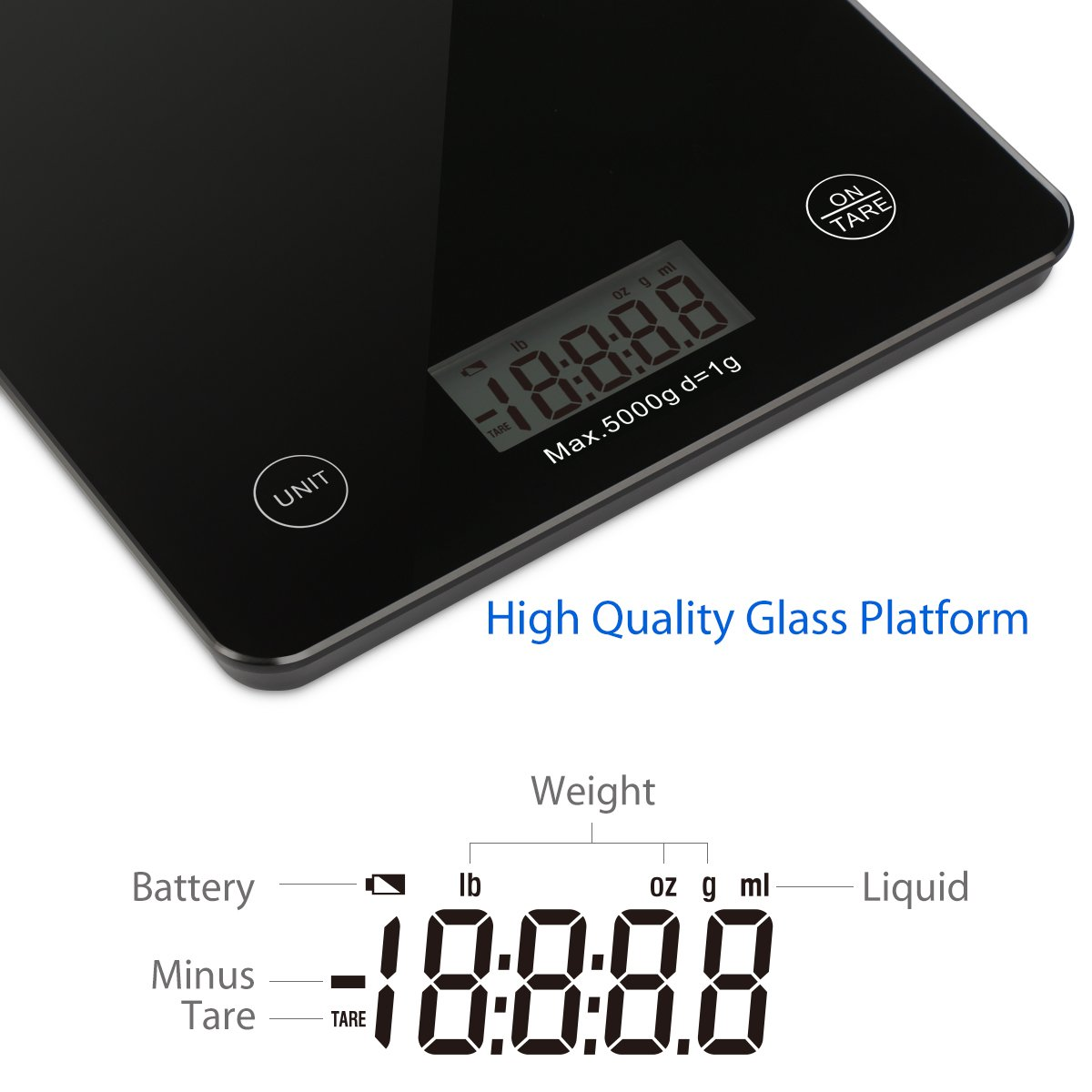 Amazon.com: 1byone Food Scale Digital Kitchen Scale Weigh in Gram LB ...