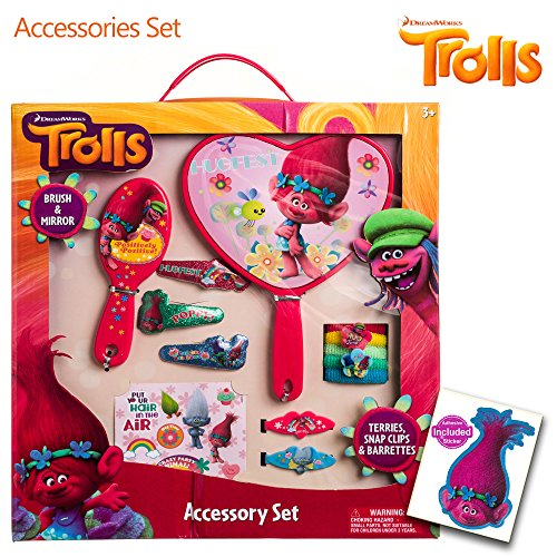 Trolls Girls 13PC Accessory Set Brush Mirror Terries Clips Barrettes Stickers (Easy Pinup Hair)
