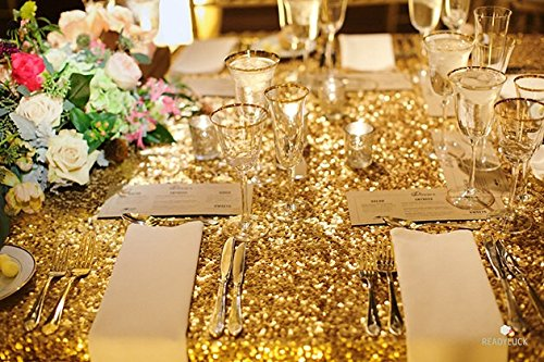LQIAO 10PCS 90x132-Inch Rectangle Sequin Tablecloth-Gold for Lavender Wedding Party Decoration by LQIAO (Image #2)