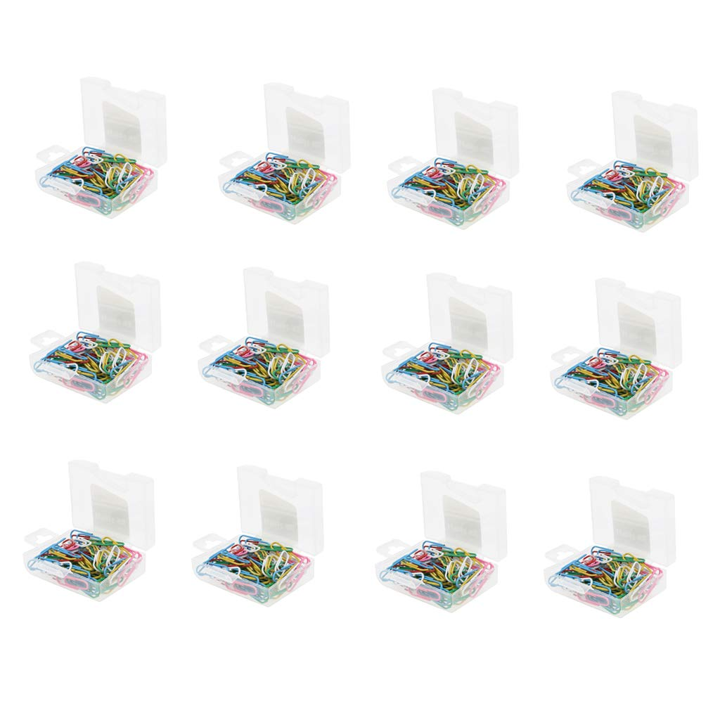 B Blesiya 12 Packs, 1020 Pcs Assorted Color Paper Clips Vinyl Coated Smooth, a Great Addition to Your Office or Classroom