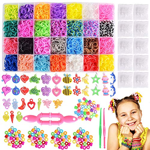Max Fun 10700+ DIY Rainbow Mega Refill Looms - Rubber Band Bracelet Maker Kit for Kids -