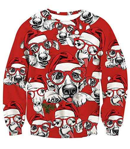 Sheep T-shirt Funny Animal (BFUSTLYE 8T Adventure Strange Ugly Christmas Holiday Vacation Sweatshirt Cute Animals Puppy Dog Sheep with White Santa Hat Polk Dot Red Glasses Funny Children Crew Neck Xmas Sweater T-Shirt)