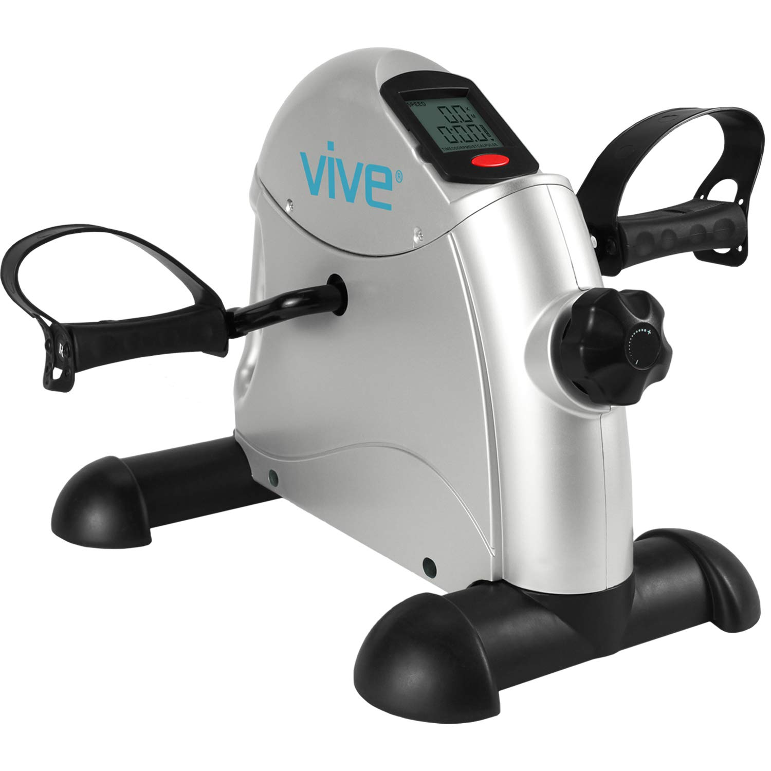 Vive Pedal Exerciser - Exercise Pedals for Seated Leg and Arm Workout - Sitting Mini Cycle Foot Peddler - Low Impact, Portable, Slim Design for Office Desk and Chair - Small, Sitdown Equipment Machine