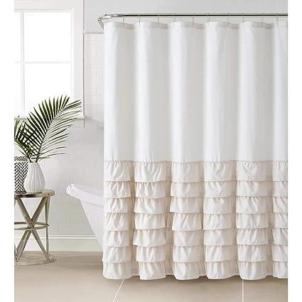 Amazon 1 Piece Taupe Brown Gypsy Ruffle Shower Curtain Bohemian