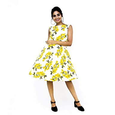 98233c666e White Short Dress in Lemon Yellow Floral Print at Amazon Women s ...