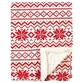 Hudson Baby Unisex Baby Plush Blanket with Sherpa Back, Red Fair Isle, One Size (56694)