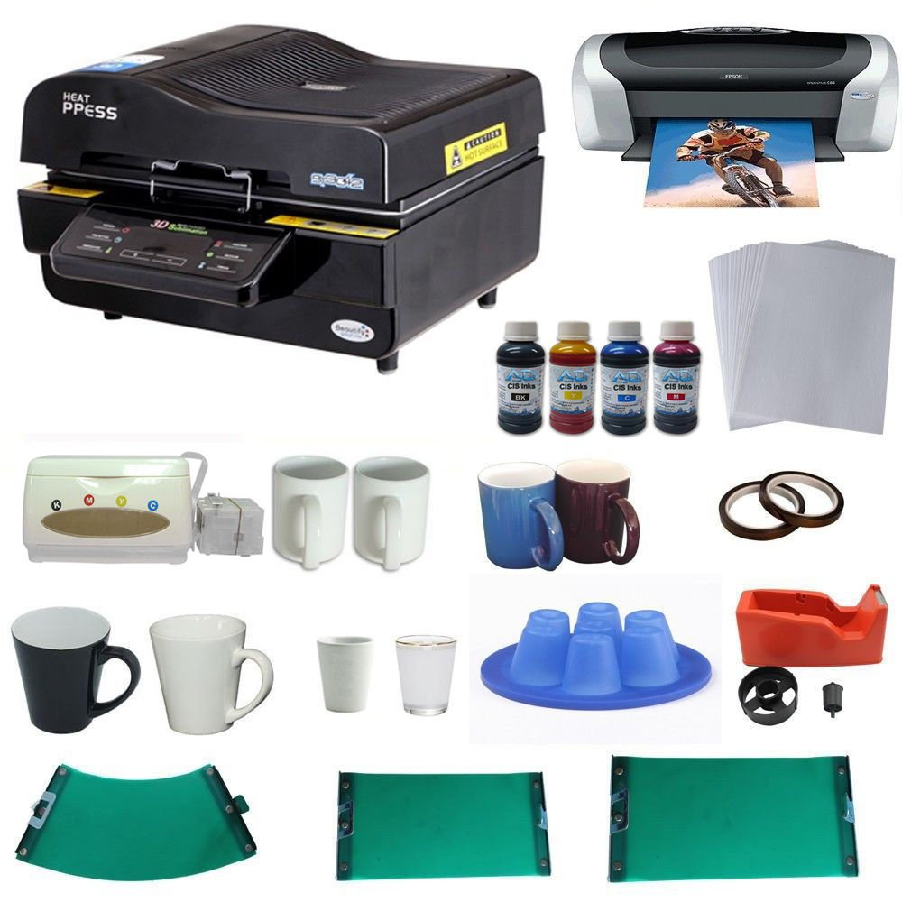 3D Vacuum Heat Press Machine Printer CISS Silicone Mould KIT for Sublimation by Sublimation Packages