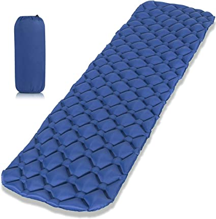 Ultralight Inflatable Sleeping Mat Camping Air Pad Roll Bed Mattress With Pillow
