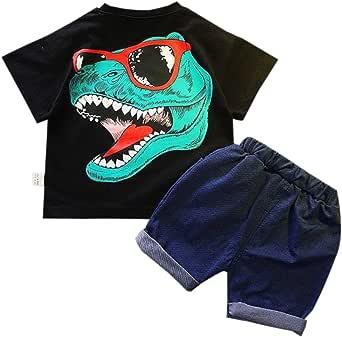 Elonglin Boys Girls Shorts Sets Kids Summer Clothes Set Cartoon Short Sleeved Tops + Elastic Short Pants 2-Piece Outfit Set