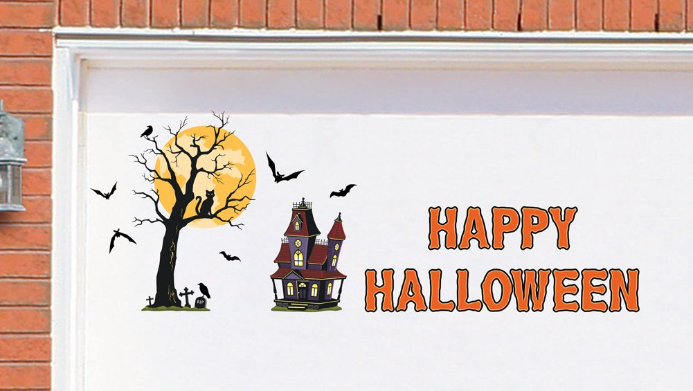 Halloween Scene Garage Door Magnets Decal Fall Autumn Spooky Scary Haunted House Prop Decoration