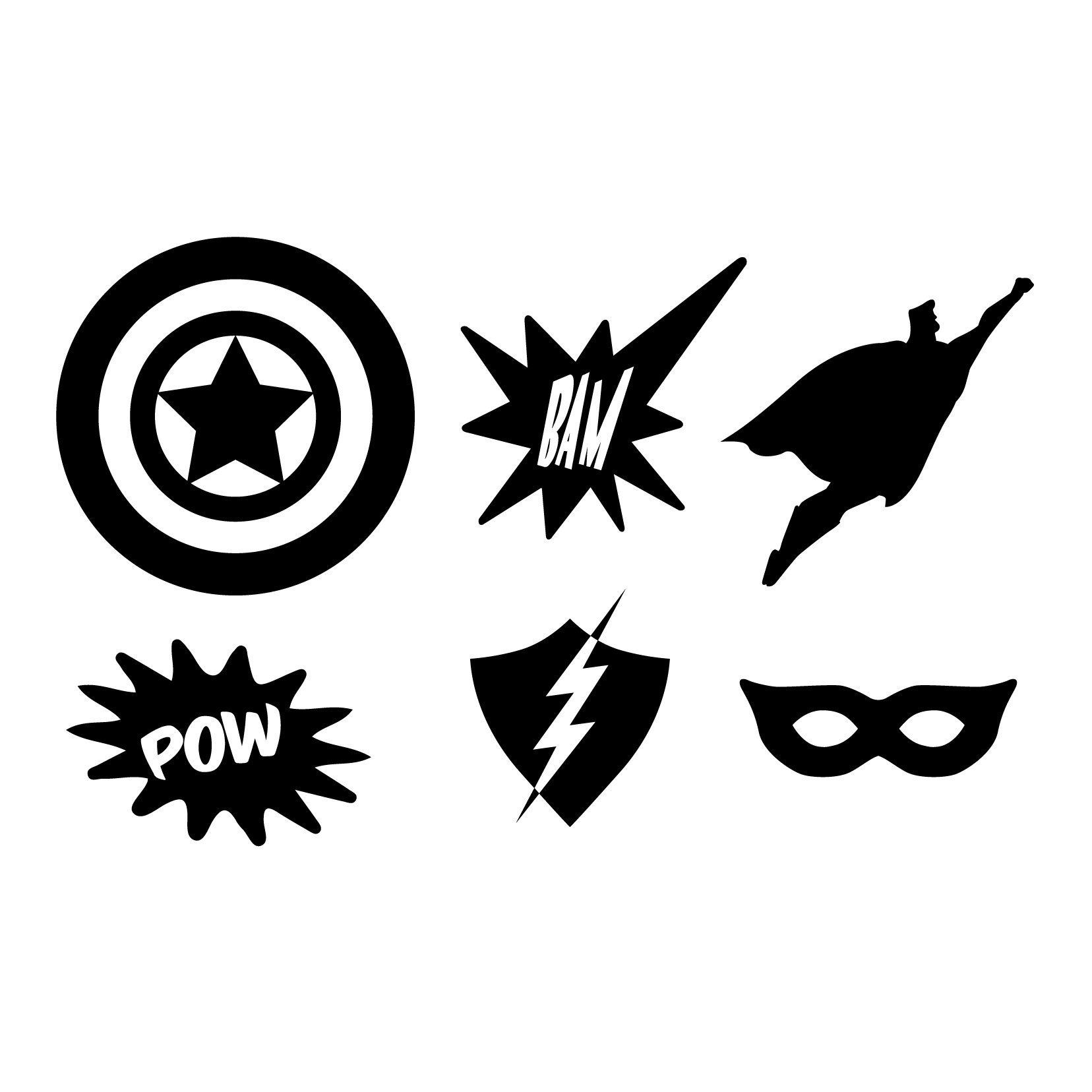 Superhero Icons - 5 sets, 30 icons - Vinyl Wall Art Decal for Homes, Offices, Kids Rooms, Nurseries, Schools, High Schools, Colleges, Universities, Interior Designers, Architects, Remodelers