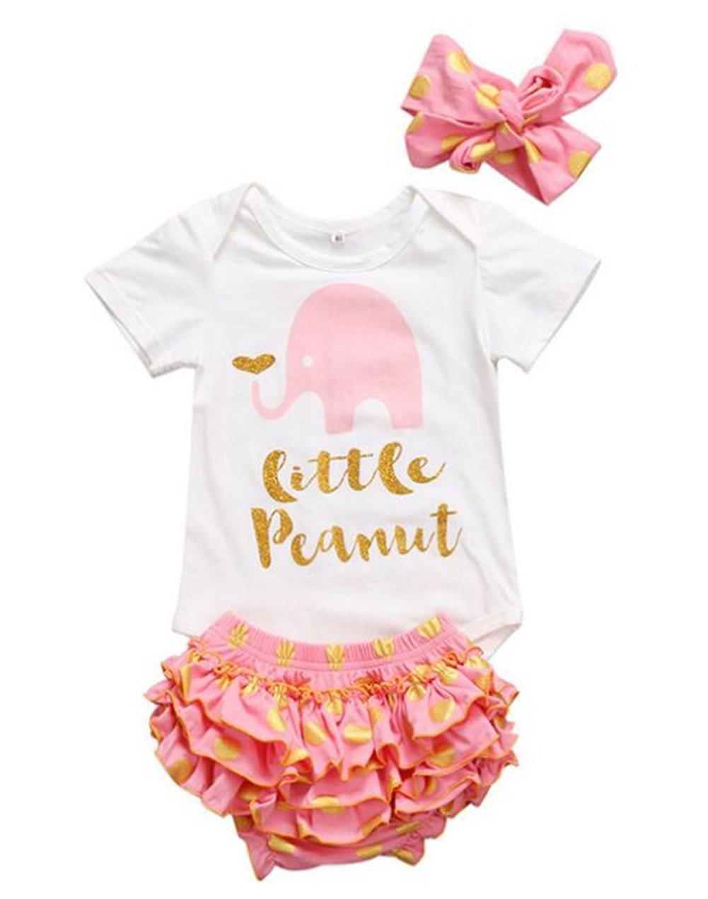 Baby Girl Elephant Letters Romper +Polka Dot Ruffle Skirts Shorts+Headband Set BANGELY J090
