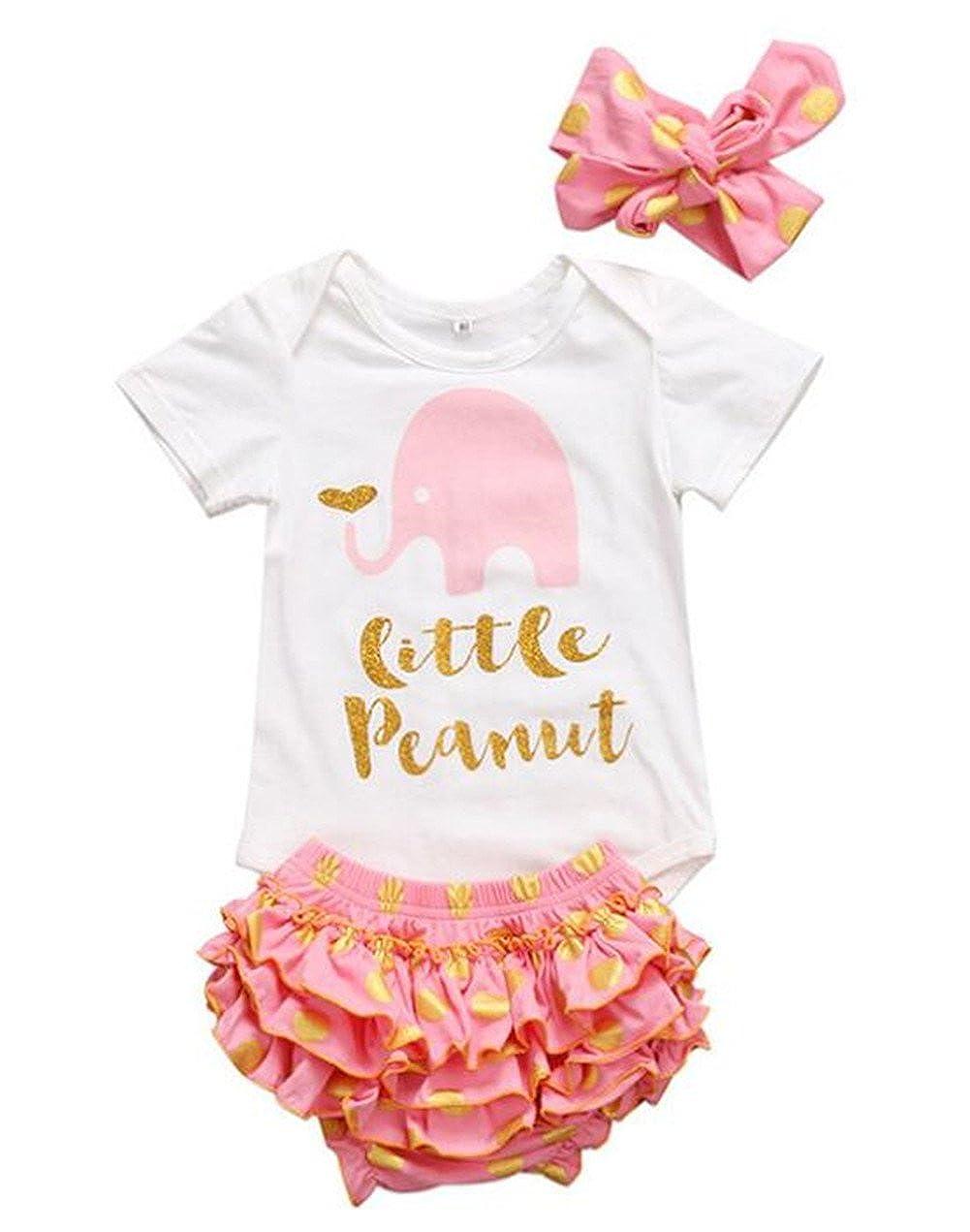 SUPEYA Baby Girls Letter Print Short Sleeve Romper Tops+Polka Dot Shorts+Headband Set