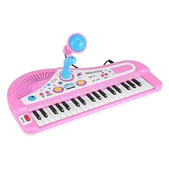 Minipiano electrónico para niños, 37 teclas, juguete pedagógico con micrófono para bebés y niños pequeños
