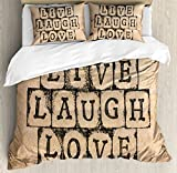 Live Laugh Love Decor Queen Size Duvet Cover Set by Ambesonne, Black Alphabet Stamps on Aged Grungy Backdrop Vintage Print, Decorative 3 Piece Bedding Set with 2 Pillow Shams, Black Light Brown