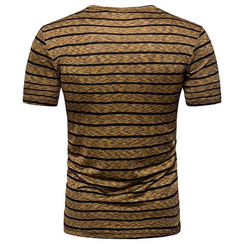Stripe T Shirts for Men, MISYYA V Neck Polo Shirt Breathable Sweatshirt Muscle Tank Top Masculinity Undershirt Mens Tops Coffee by MISYAA (Image #2)