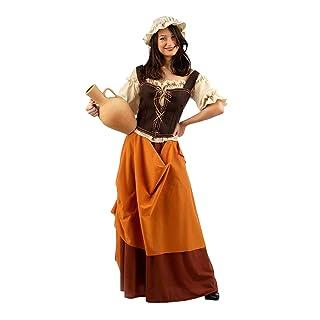 Costume donna Medioevo locandiera 4 pezzi Camicia, gonna, berretto, corsetto per carnevale marrone corsetto per carnevale marrone - S E1042785