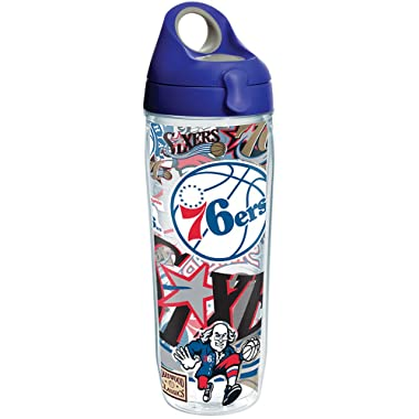 Tervis 1276700 NBA Philadelphia 76ers All Over Tumbler with Wrap and Blue with Gray Lid 24oz Water Bottle, Clear