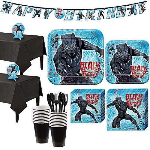 Party City Black Panther Party Supplies for 16 Guests, Include Plates, Napkins, Utensils, a Banner, and Centerpieces -